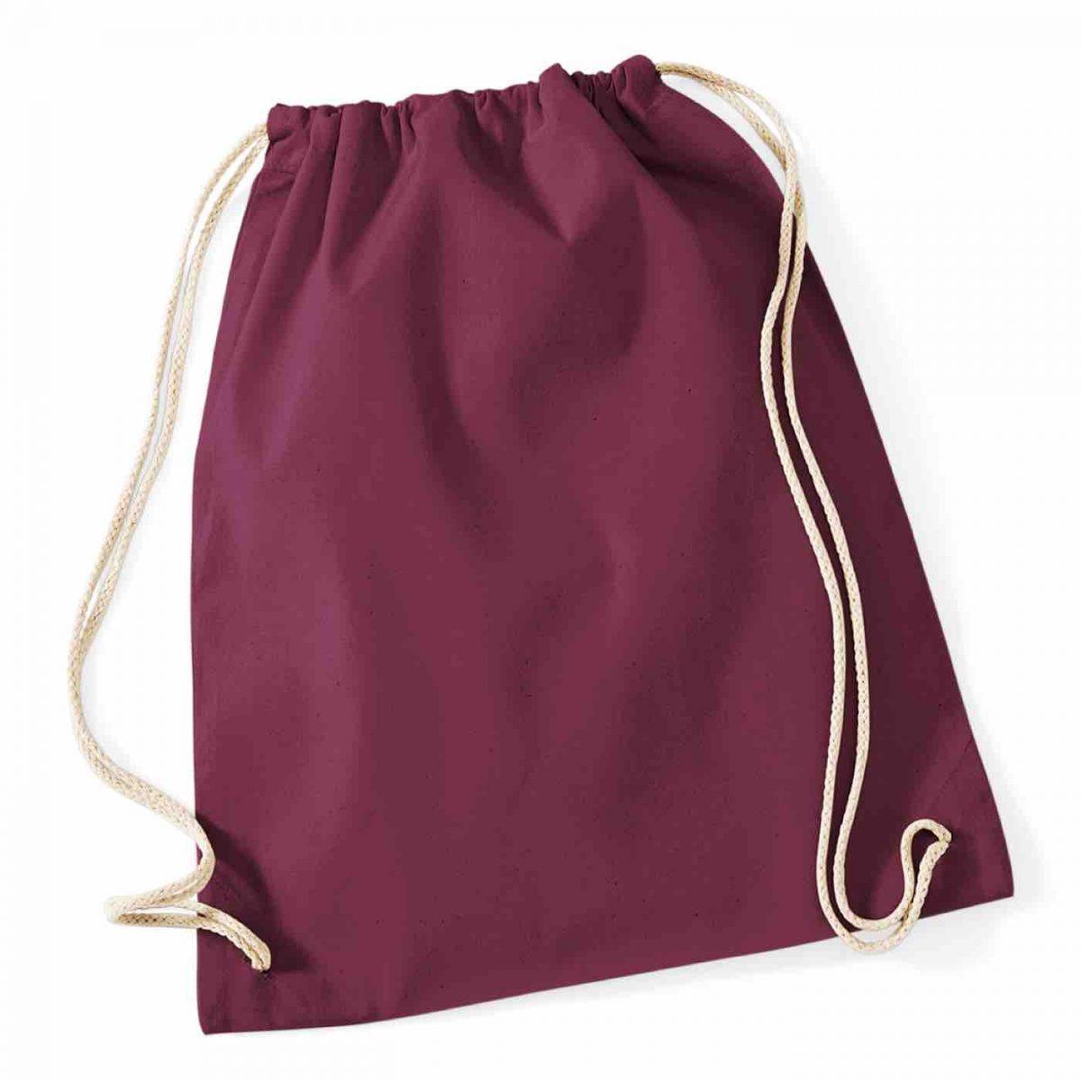 Burgundy Cotton Tote Bag